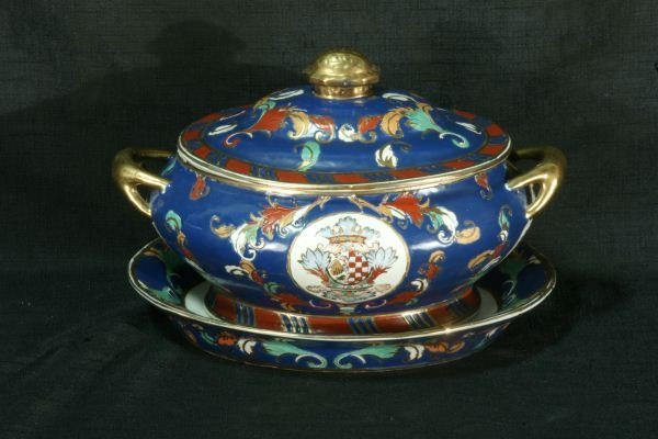 8: PORCELAIN TUREEN AND UNDERPLATE