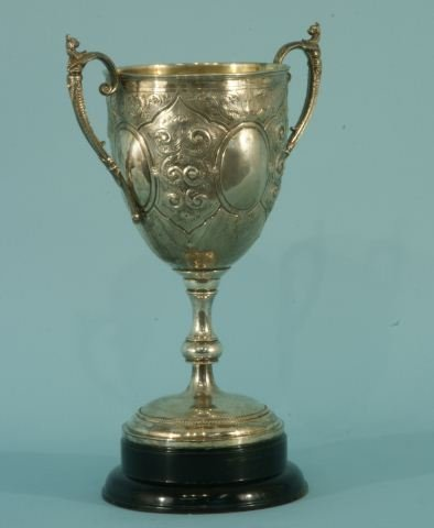 12: VINTAGE SILVER REPOSE TROPHY WITH TWO HANDLES