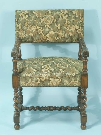 16: ANTIQUE FRENCH HENRY II STYLE CARVED ARMCHAIR