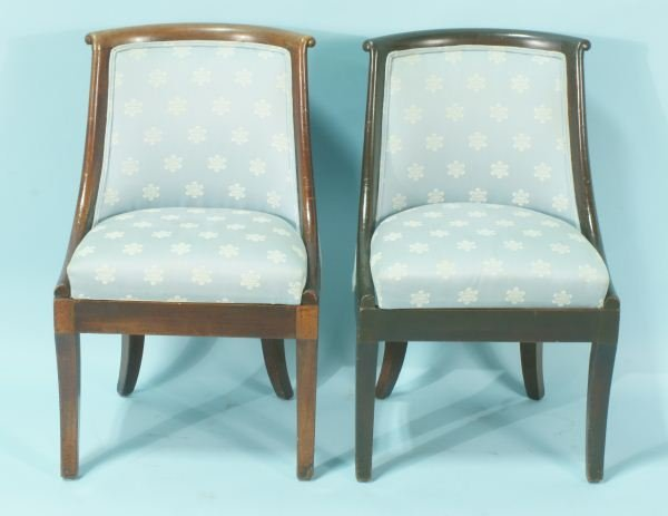 20: PAIR OF ANTIQUE FRENCH EMPIRE MAHOGANY CHAIRS
