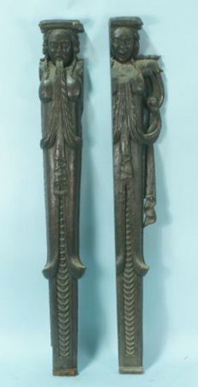 16th CENTURY ARCHITECTURAL OAK CARVED CARYATIDS