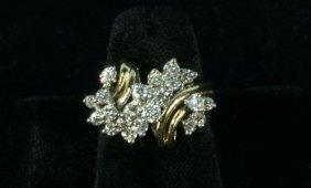 LADIES 18 KT TWO-TONE DIAMOND FASHION RING