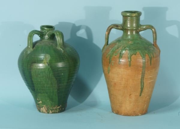 102: TWO ANTIQUE GREEN JARS