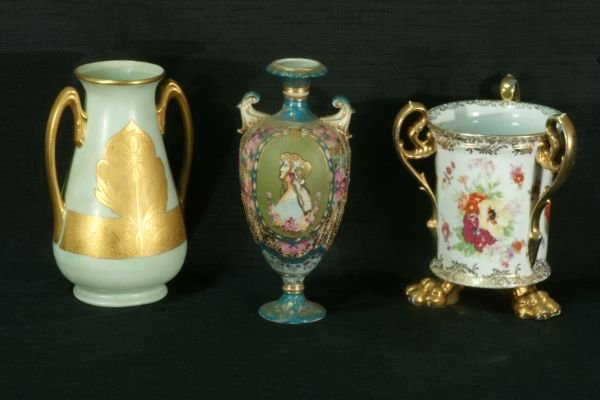 106: ART NOUVEAU VASES AND ONE COMPOTE