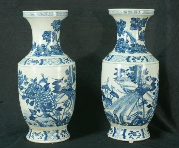 113: PAIR OF CHINESE BLUE & WHITE PORCELAIN VASES