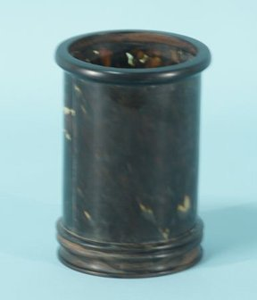 10A: TORTOISE SHELL BRUSH POT WITH HARDWOOD TRIM