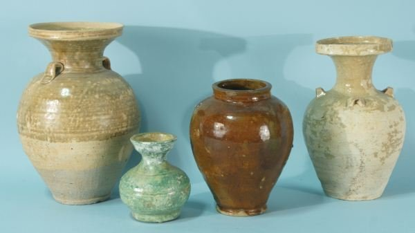 20B: LOT OF FOUR MIXED ANTIQUE CHINESE TERRACOTTA GLAZE