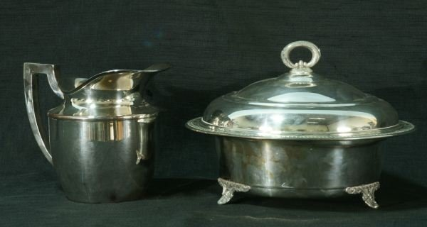 1: SILVERPLATED SERVING DISH AND PITCHER