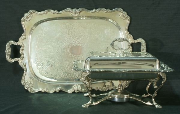 13: SILVERPLATED TRAY AND SERVING TRAY