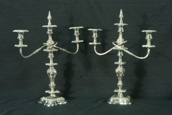 14: PAIR OF SILVERPLATED CANDELABRA