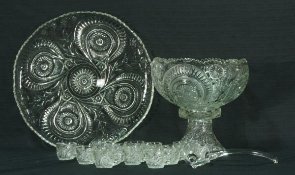 17: PRESSED GLASS TRAY, PUNCH BOWL, LADLE AND TWELVE C