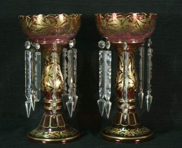 21: PAIR OF 19th CENTURY RUBY LUSTRES