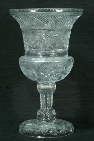 23: RUSSIAN CUT GLASS FOOTED VASE