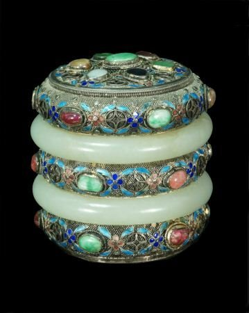 73: JADE AND JEWELED ENAMEL CONTAINER