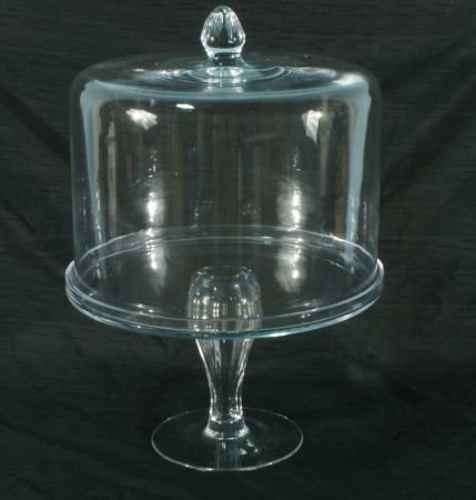 1: GLASS FOOTED CAKE PLATE WITH DOME