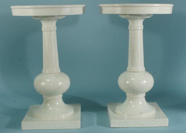2: PAIR OF CRACKLE GLAZED FINISH PEDESTAL LAMP TABLES