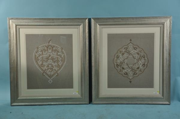 6: TWO FRAMED AND MATTED ALHAMBRA LINEN TAPESTRIES
