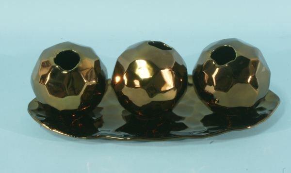 10: FOUR-PIECE BRONZE NUGGET CERAMIC BALL VASES