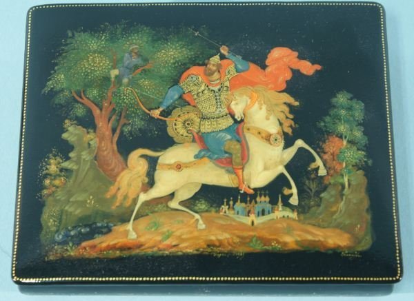 3: RUSSIAN LACQUER BOX WITH KNIGHT ON HORSE