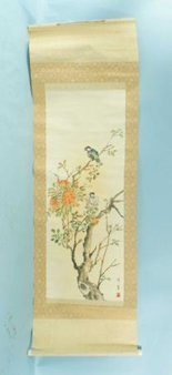 7: CHINESE SCROLL PAINTING OF HAWKS
