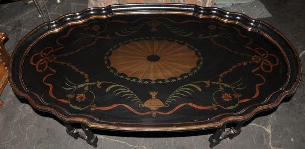 11: VICTORIAN EBONIZED TRAY STYLE COFFEE TABLE