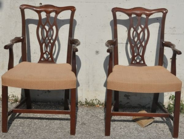 15: PAIR OF CHIPPENDALE STYLE ARMCHAIRS