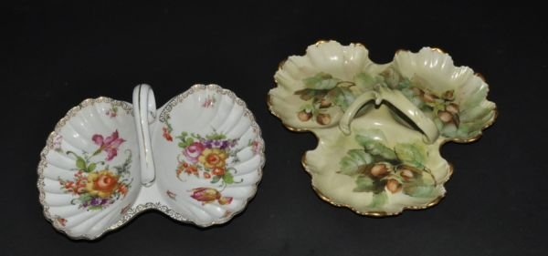 16: 2 FRENCH LIMOGES COMPARTMENTAL DISHES. MARKED WITH