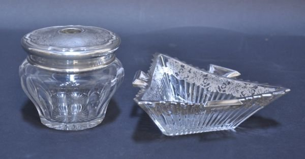 20: STERLING SILVER AND CRYSTAL HAIR RECEIVER AND BOWL