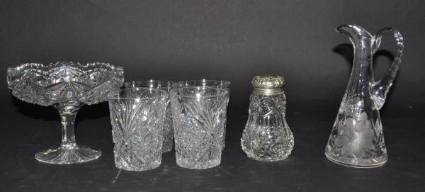 21: SEVEN ANTIQUE AMERICAN BRILLIANT CUT GLASS PIECES