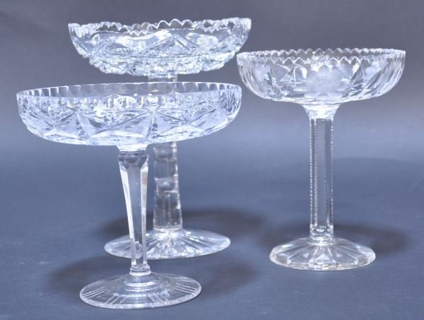 24: LOT OF THREE AMERICAN CUT GLASS FOOTED DISHES