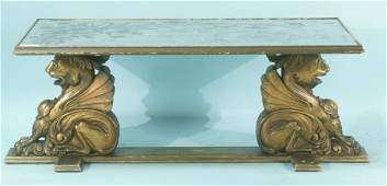 85 ITALIAN BAROQUE STYLE CARVED GILTWOOD COFFEE TABLE