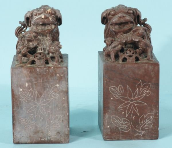 1: PAIR OF SOAPSTONE FOO DOG CHOPS