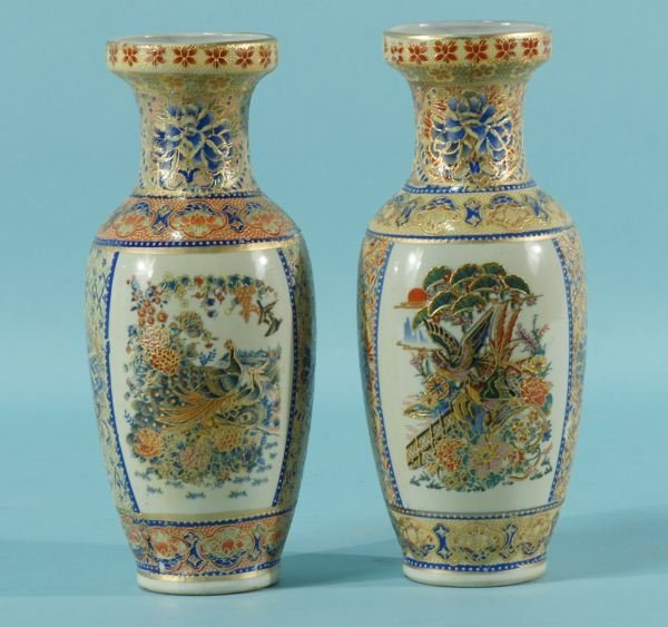 5: PAIR OF REPRODUCTION SATSUMA PORCELAIN VASES