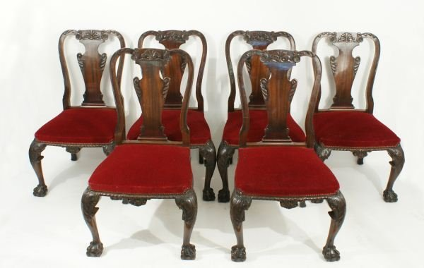 6: 19th C. ENGLISH CHIPPENDALE MAHOGANY DINING CHAIRS