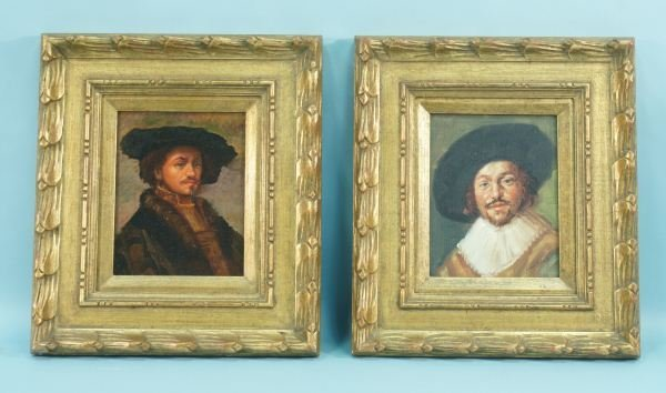 9: TWO OIL ON PANEL PORTRAITS IN THE STYLE OF VELASQUEZ