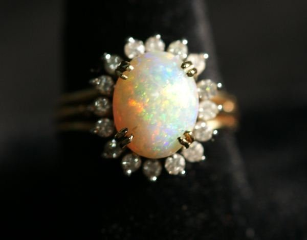 10B: CUSTOM MADE 14KT TWO TONE OPAL AND DIAMOND RING