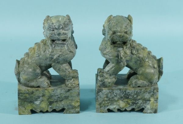 16: PAIR OF CHINESE SOAPSTONE FOO DOGS