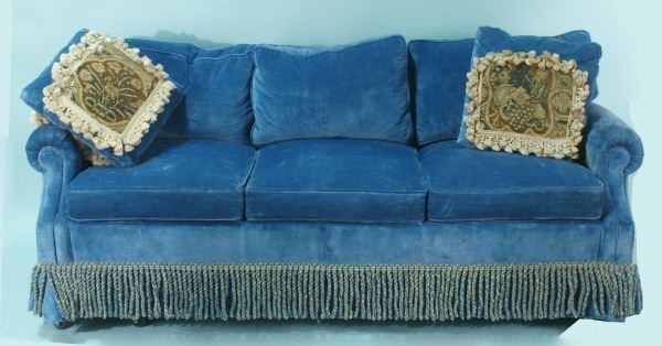 29: BLUE VELVET SOFA SLEEPER WITH TWO ANTIQUE PILLOWS