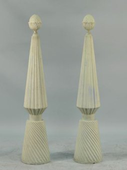 5: PAIR OF CARVED & PAINTED FINIALS