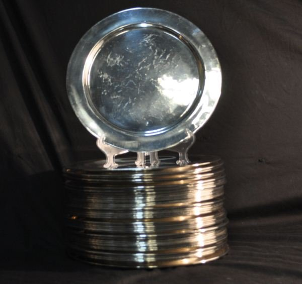 9: FORTY-THREE SILVERPLATED CHARGERS