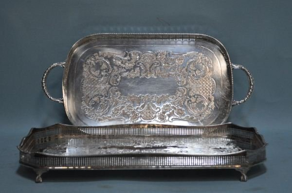 12: LOT OF TWO RETICULATED TRAYS WITH GALLERIES