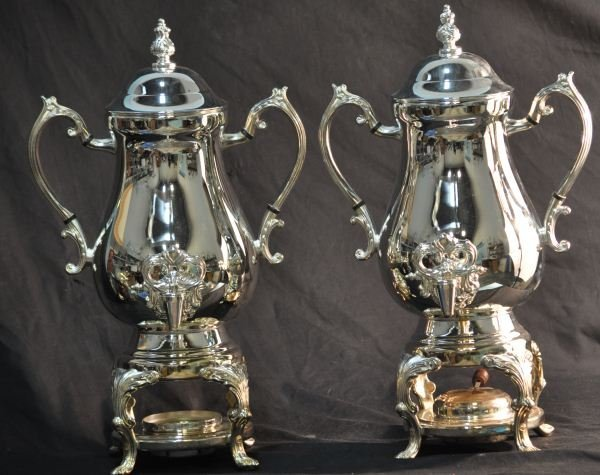 13: PAIR OF  SILVERPLATED COFFEE URNS