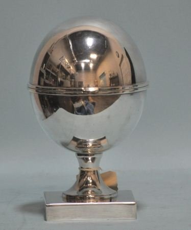 16: SILVERPLATED LIDDED BOWL ON FOOTED BASE