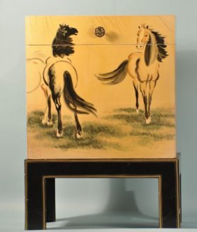 ORIENTAL LACQUERED HORSE MOTIF TRUNK ON STAND