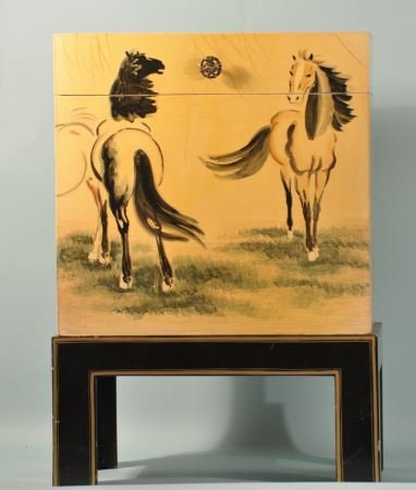 2: ORIENTAL LACQUERED HORSE MOTIF TRUNK ON STAND