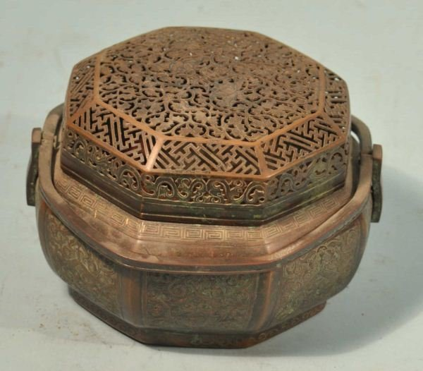4: ANTIQUE CHINESE COPPER CRICKET BOX.