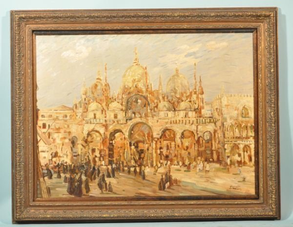 8: ST. MARKS SQUARE, VENICE BY DANTE OIL ON CANVAS