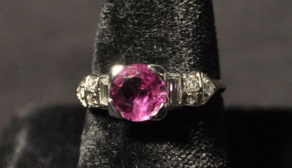 10A: CIRCA 1920 10% IRID PLATINUM RUBY & DIAMOND RING