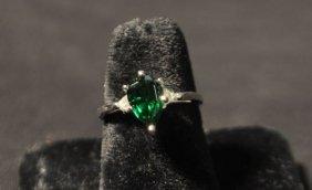 14KT WHITE GOLD TSAVORITE & DIAMOND RING