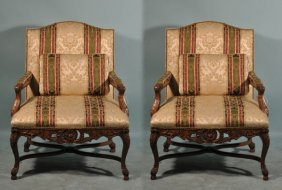 12: PAIR OF FRENCH LOUIS XV STYLE ARMCHAIRS IN SILK